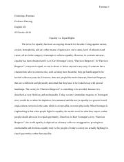 Essay 4: Equality vs Equal Rights