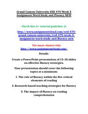 Grand Canyon University EED 470 Week 3 Assignment Word Study and Fluency NEW.doc