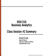 DSO 510 - Class session 2 - Summary.ppt