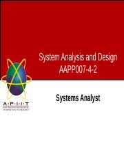 Week03 - Lecture 1 - Systems Analyst