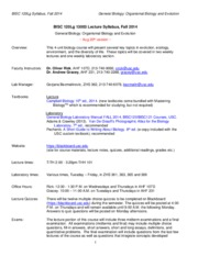 Fall 2014 BISC 120 Syllabus
