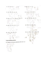 Solving Equations One step Problems