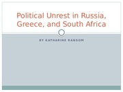 Political Unrest in Russia, Greece, and South Africa