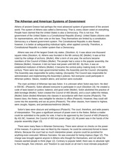 The Athenian and American Systems of Government