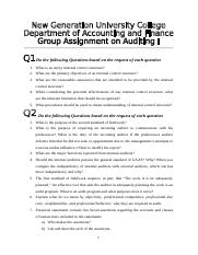 Assignment - Auditing I