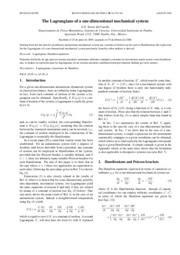 [Article] The Lagrangians Of A One-Dimensional Mechanical System