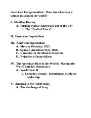 American Exceptionalism outline