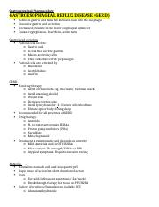 Gastrointestinal Pharmacology Outline