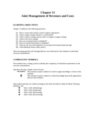 ch13 - Joint Management of Revenues and Costs