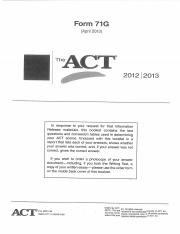 ACT Form 71G (April 2013)