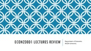 Microeconomics (Econ230D1) Lectures Review