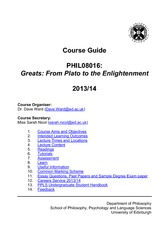 Greats Course Guide 201314