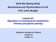MCB 354 Regulation of Carbohydrate Metabolism Lecture