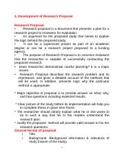 4. Development of research proposal