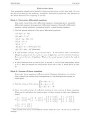 MATH 2243 - Review Sheet Final
