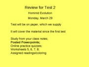 Test 2 Review 2010