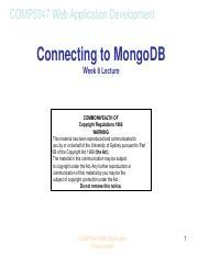 COMP5347_W8_Database_Mongoose-2 pdf - COMP5347 Web