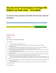 Society And Technological Change 8th Edition by Rudi Volti – Test Bank.docx