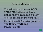 (1) Course Materials