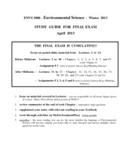 Study Guide for Final Exam-W2013