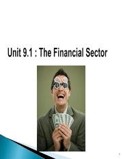 Unit 9.1 Fin ancial sect 1