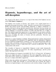Hypnosis, hypnotherapy, and the art of self-deception
