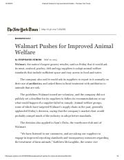 Walmart Pushes for Improved Animal Welfare - The New York Times
