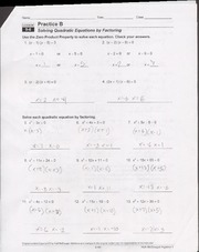 9.6 Worksheet solving quadratic equations by factoring - Name Date ...