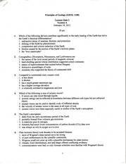 GEOL 1100 lecture quiz 2 version A 2012