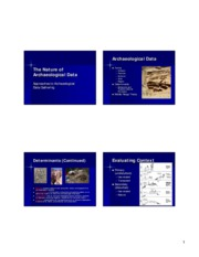 Lecture 05 The Structure of Archaeological Data