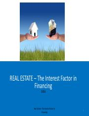 ch.2 Real Estate - the Interest Factor In Financing