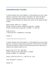 Calculation Bus Transfer, IO, Address Decoding, Peripheral Homework