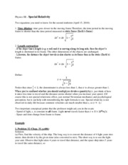 Special Relativity Notes