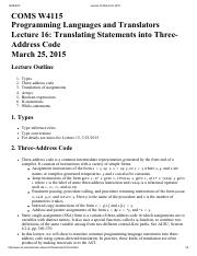 Lecture 16 Translating Statements into Three-Address Code