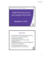 November 17 2017 SWM Planning and Lot Level Design and Control.pdf