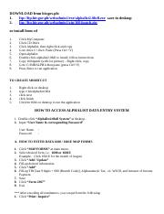 HOW TO ACCESS ALPHALIST DATA ENTRY SYSTEM doc - DOWNLOAD