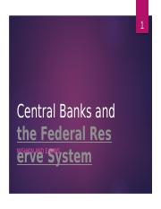 Chapter 9 Central Banks and the Federal Reserve System
