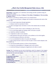 questionaire on conflict management
