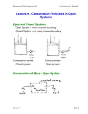 Lecture 9 Conservation of Mass and Energy