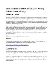 Risk And Return Of Capital Asset Pricing Model Finance Essay