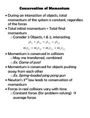 notes - Conservation of Momentum.pdf