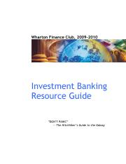Investment Banking Resource Guide 2009-2010 v102509