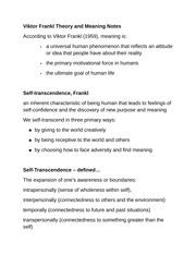 Viktor Frankl Theory and Meaning Notes