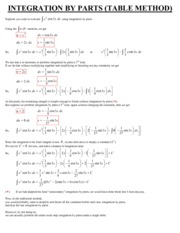 Math 2A Integration by Parts Table Method