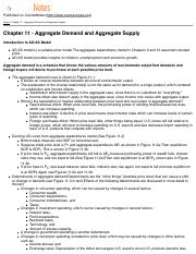 Chapter 11 - Aggregate Demand and Aggregate Supply