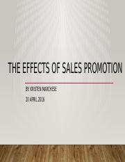 The Effects of Sales Promotion