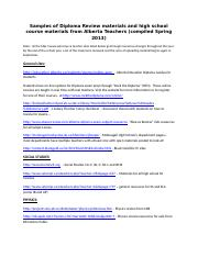 Samples of Diploma Review websites from Alberta Teachers.docx