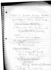 class notes- models of discrete random variables