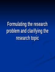 RM3. Formulating the research Problem