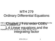 1.4 Linear equations and the integrating factor